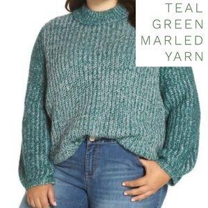 Marled Yarn Sweater Teal Green